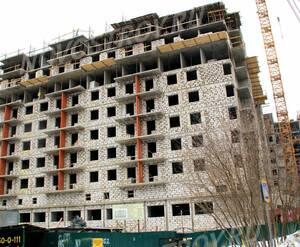 ЖК «Правда-4»: 14.02.2016 - Новостройка на стадии строительства верхних этажей, вид с торца
