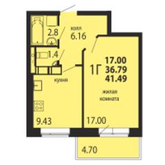 ЖК «Родники», планировка 1-комнатной квартиры, 41.49 м²