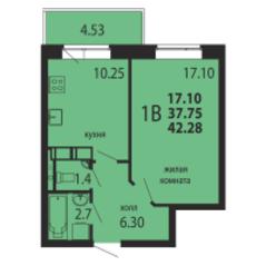 ЖК «Родники», планировка 1-комнатной квартиры, 42.28 м²