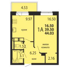 ЖК «Родники», планировка 1-комнатной квартиры, 44.03 м²