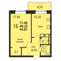ЖК «Родники», планировка 1-комнатной квартиры, 44.81 м²