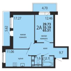 ЖК «Родники», планировка 2-комнатной квартиры, 65.51 м²