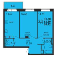 ЖК «Родники», планировка 2-комнатной квартиры, 68.42 м²