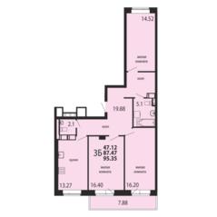 ЖК «Родники», планировка 3-комнатной квартиры, 95.35 м²