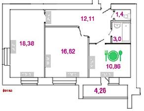 ЖК «Талдомская жемчужина», планировка 2-комнатной квартиры, 64.51 м²