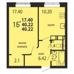 ЖК «Родники», планировка 1-комнатной квартиры, 40.22 м²