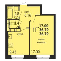 ЖК «Родники», планировка 1-комнатной квартиры, 36.79 м²