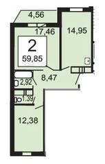 ЖК «Родники», планировка 2-комнатной квартиры, 59.85 м²