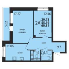 ЖК «Родники», планировка 2-комнатной квартиры, 60.81 м²