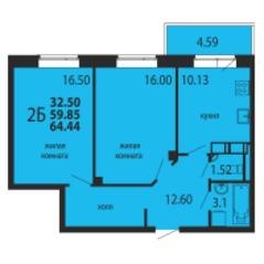 ЖК «Родники», планировка 2-комнатной квартиры, 64.44 м²