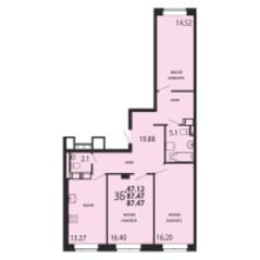 ЖК «Родники», планировка 3-комнатной квартиры, 87.47 м²