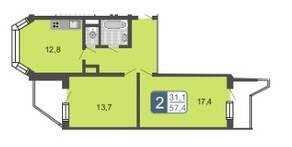 ЖК «Мой адрес в Бескудниково», планировка 2-комнатной квартиры, 57.40 м²