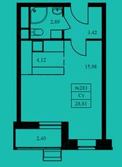 ЖК «Новокрасково», планировка студии, 28.81 м²