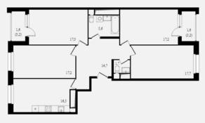 ЖК «Балтийский», планировка студии, 111.30 м²