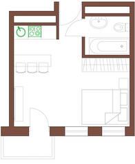 МФК «Янтарь apartments», планировка студии, 26.95 м²