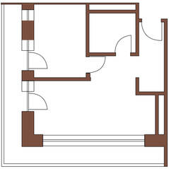 МФК «Янтарь apartments», планировка 2-комнатной квартиры, 45.70 м²