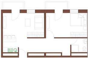 МФК «Янтарь apartments», планировка 2-комнатной квартиры, 52.31 м²