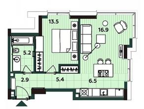 МФК «Soho+Noho», планировка 2-комнатной квартиры, 48.10 м²