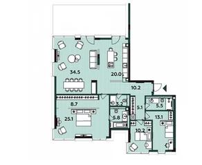 МФК «Soho+Noho», планировка 3-комнатной квартиры, 112.40 м²