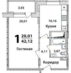 ЖК «Высокий берег» (Ногинск), планировка 1-комнатной квартиры, 42.12 м²