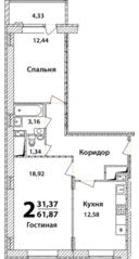 ЖК «Высокий берег» (Ногинск), планировка 2-комнатной квартиры, 61.87 м²