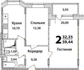 ЖК «Высокий берег» (Ногинск), планировка 2-комнатной квартиры, 59.44 м²