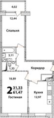 ЖК «Высокий берег» (Ногинск), планировка 2-комнатной квартиры, 61.47 м²