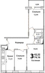ЖК «Высокий берег» (Ногинск), планировка 3-комнатной квартиры, 74.16 м²