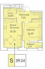 ЖК «Аквилон Beside», планировка 2-комнатной квартиры, 39.24 м²