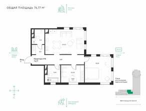ЖК «Eleven», планировка 2-комнатной квартиры, 76.77 м²