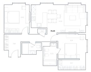 МФК «Residence Hall Шаболовский», планировка 2-комнатной квартиры, 76.68 м²