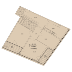 ЖК «Prizma», планировка 3-комнатной квартиры, 113.86 м²