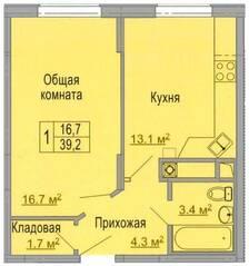 МЖК «Дмитрослав», планировка 1-комнатной квартиры, 39.20 м²