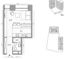МФК «B'aires», планировка 1-комнатной квартиры, 30.20 м²