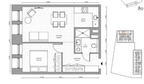 МФК «B'aires», планировка 2-комнатной квартиры, 42.99 м²