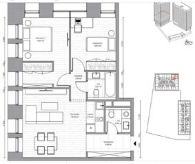 МФК «B'aires», планировка 3-комнатной квартиры, 60.41 м²