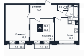 МЖК «Barton», планировка 2-комнатной квартиры, 59.00 м²