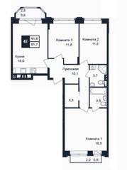 МЖК «Barton», планировка 4-комнатной квартиры, 81.70 м²