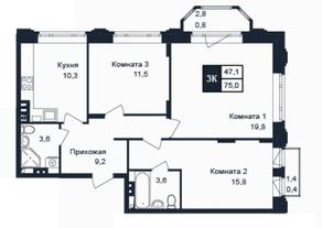 МЖК «Barton», планировка 3-комнатной квартиры, 75.00 м²