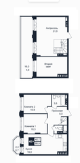 МЖК «Barton», планировка 4-комнатной квартиры, 80.90 м²
