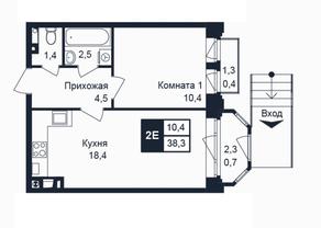 МЖК «Barton», планировка 1-комнатной квартиры, 38.30 м²