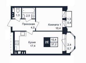 МЖК «Barton», планировка 1-комнатной квартиры, 37.20 м²