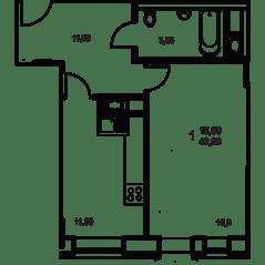 ЖК «Квартал Гальчино», планировка 1-комнатной квартиры, 42.60 м²