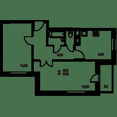 ЖК «Квартал Гальчино», планировка 2-комнатной квартиры, 59.70 м²