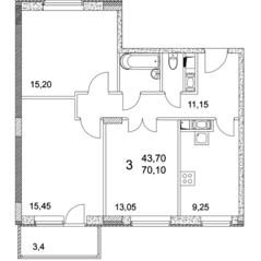 ЖК «Квартал Гальчино», планировка 3-комнатной квартиры, 70.00 м²