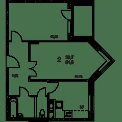 ЖК «Квартал Гальчино», планировка 2-комнатной квартиры, 56.90 м²