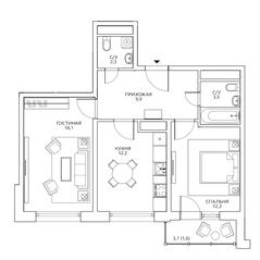 ЖК «Авиатика», планировка 2-комнатной квартиры, 57.90 м²