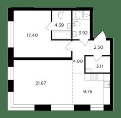 ЖК «Foriver», планировка 2-комнатной квартиры, 66.94 м²