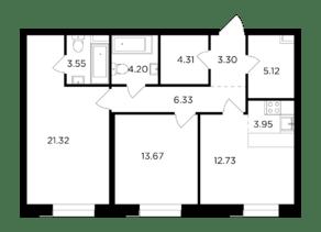 ЖК «Foriver», планировка 3-комнатной квартиры, 78.48 м²