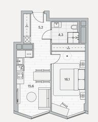 ЖК «Береговой» (Филёвский парк), планировка 1-комнатной квартиры, 41.20 м²